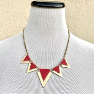 VINTAGE necklace red gold triangles pendants chain
